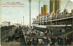 Hand-colored postcard of emigrants arriving on trains to board the North Lloyd steamer at Bremen for the trip to Texas.