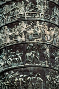 19 Jun 1996, Place Vendome, Paris, France --- A bas-relief frieze circles a bronze column standing in Place Vendome. The column was modeled after Trajan's Column in Rome, Italy. Paris, France. --- Image by © Robert Holmes/CORBIS