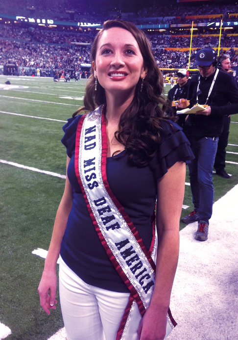 Mazique was invited to perform the National Anthem in American Sign Language at SuperBowl XLVI. Photo courtesy of Miss Deaf America Ambassador Program/Facebook.
