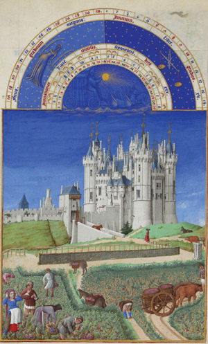 Ben Breen, history graduate student, used the month of September as depicted in the Très Riches Heures du Duc de Berry (1412-4, France) to illustrate his post about the 5,000-mile trek of a Castilian diplomat along the Silk Road and his arrival in Samarkand in September 1404.