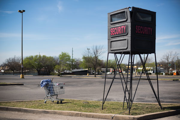 An empty security booth located at the North Austin Events Center parking lot. In 2012 there were approximately 60 reported crimes there, most prevalent were burglaries of vehicles.