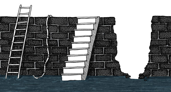 Illustration of brick wall with ladder, rope and stairs. Illustration by Brad Amorosino