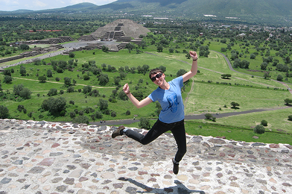Flanagan at the top of a pyramid in Teotihuacan.