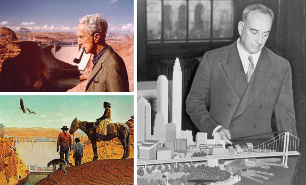 OPPOSITE, CLOCKWISE FROM TOP: Norman Rockwell (1894-1978) at Glen Canyon Dam, Arizona. Rockwell was one of several artists commissioned by the U.S. Bureau of Reclamation in 1969 to depict water resource development sites throughout the American West. Robert Moses (1888-1981), one of the most powerful urban planners in New York of the mid-20th century, with a model of his proposed Battery Bridge. Ultimately he was forced to settle for a tunnel connecting Brooklyn to Lower Manhattan. Glen Canyon Dam by Norman Rockwell, oil on canvas, 51 x 77 in. Rockwell conceived of the idea to add a Navajo trio perched near the canyon rim and was granted license to move Tower Butte and place it wherever he wanted.