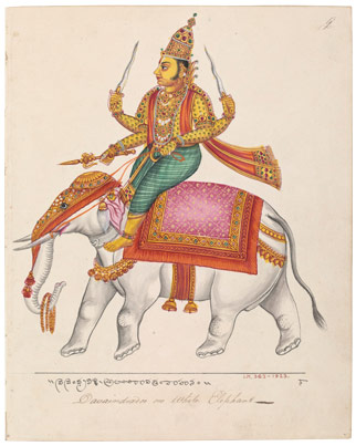 In this ca. 1820 painting, Indra is depicted riding on his white elephant Airavata. Indra is the god of storms and war who leads the Deva (the gods who form and maintain heaven and the elements in Hinduism). Indra has about 250 hymns dedicated to him in the Rigveda. Illustration courtesy of Wikipedia Commons.