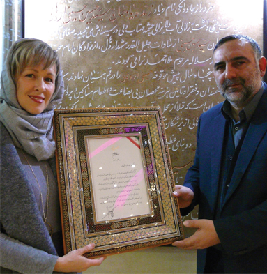 Mulder receives the World Prize for Book of the Year from the Iranian Ministry of Culture.