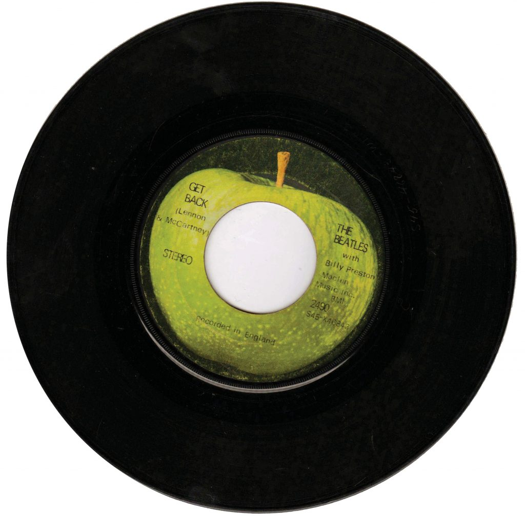 Get Back vinyl single by the Beatles.