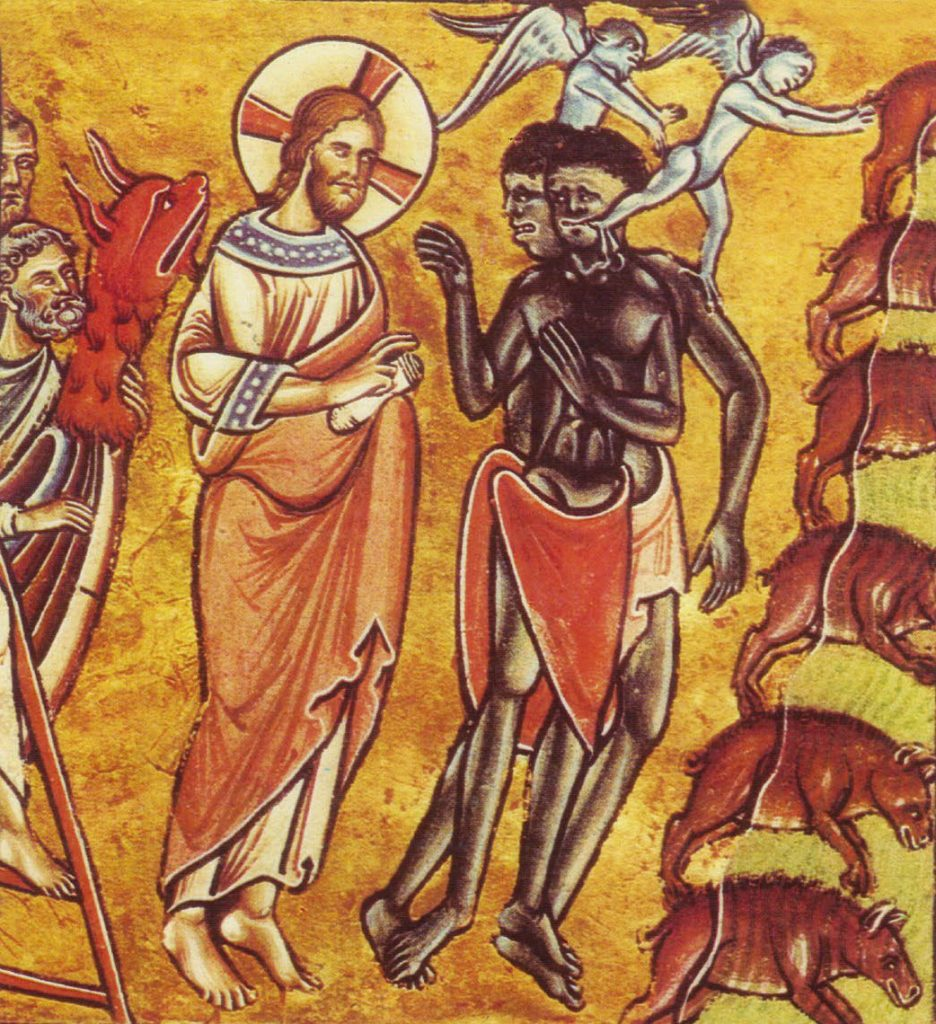 Ancient illustration of the Healing of the Gadarene demoniacs. Jesus Christ appears to be healing two African men with demonic-winged creatures flying above them.