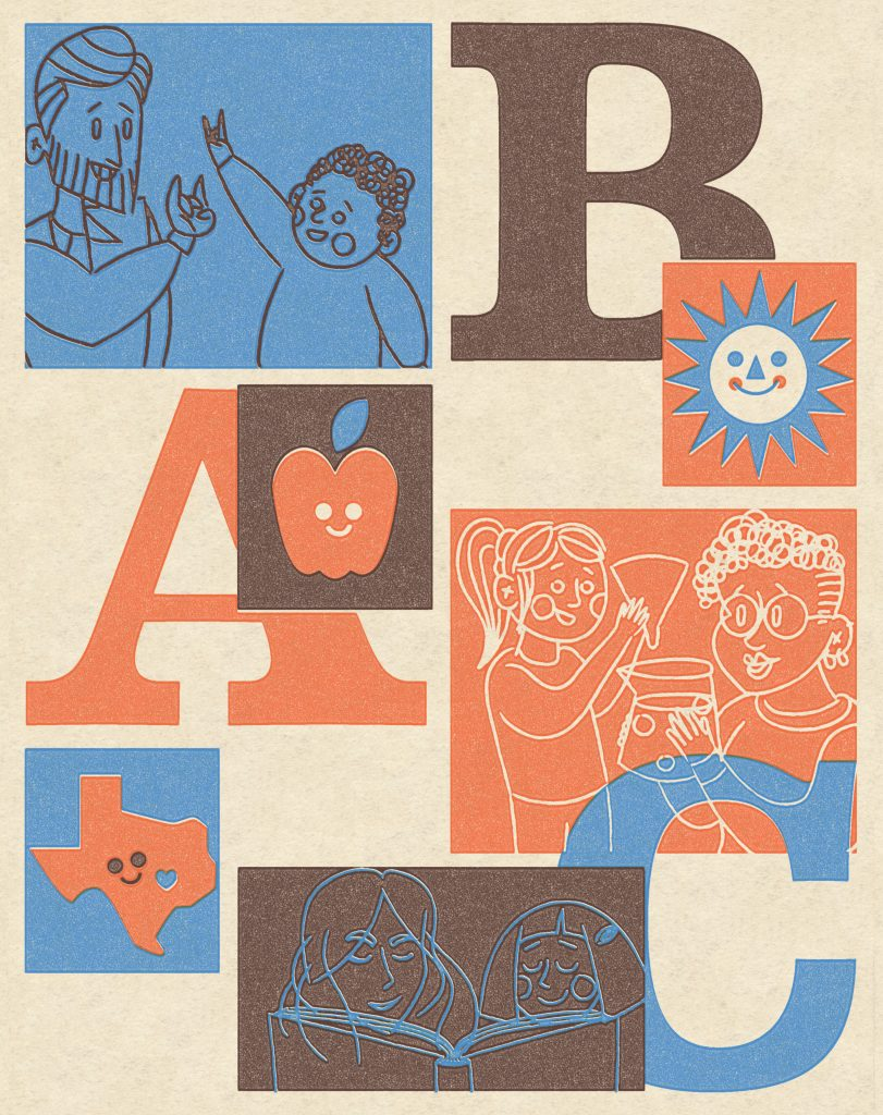 Illustration of parents and children learning, playing and communicating by sign language with each other. They are next to illustrations of ABCs, a happy sun and a happy state of Texas.
