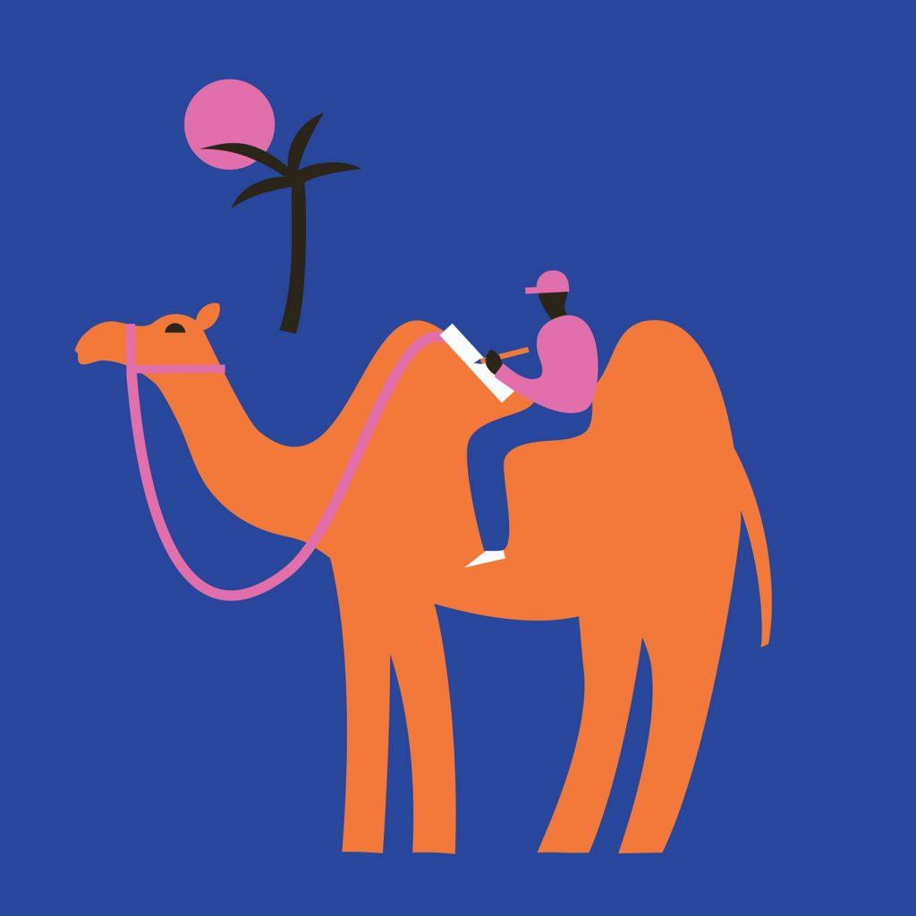 Surreal illustration in a simple style of a man writing in his notebook while sitting atop a camel in a desert.