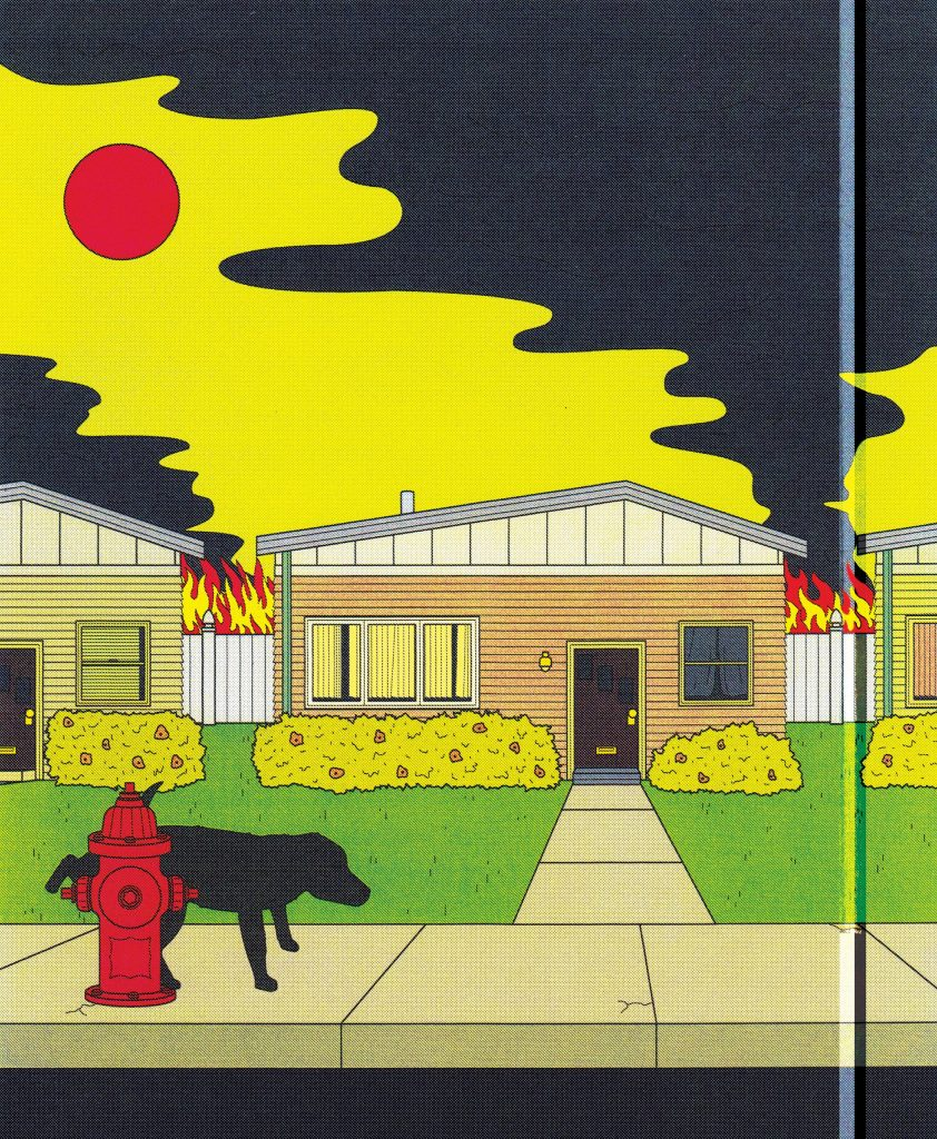 A suburban street scene with an ominous red sun overhead. Flames appear to be coming from the backyard barbecue scene we saw earlier. The dog is urinating on a fire hydrant in the street while everything starts to burn.
