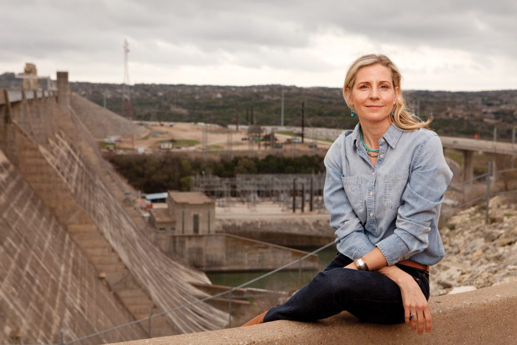 Erika Bsumek at the enormous Mansfield Dam located in Austin, Texas.