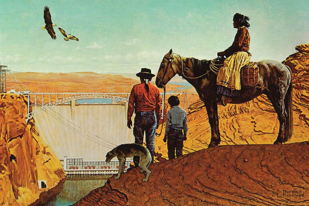 Norman Rockwell painting of the Glen Canyon Dam, with a Native American family, their horse and dog looking on. Two eagles fly overhead over a clear, blue sky.