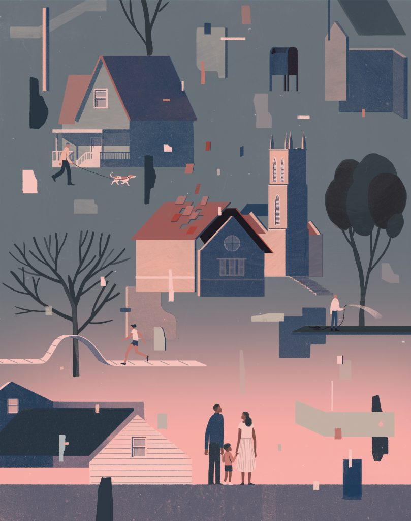 Stylized illustration of a neighborhood falling apart in a surreal scene. The houses, streets, trees, sidewalks, and people are all coming apart and floating in the sky. An African-American husband, wife and child look on from the ground.