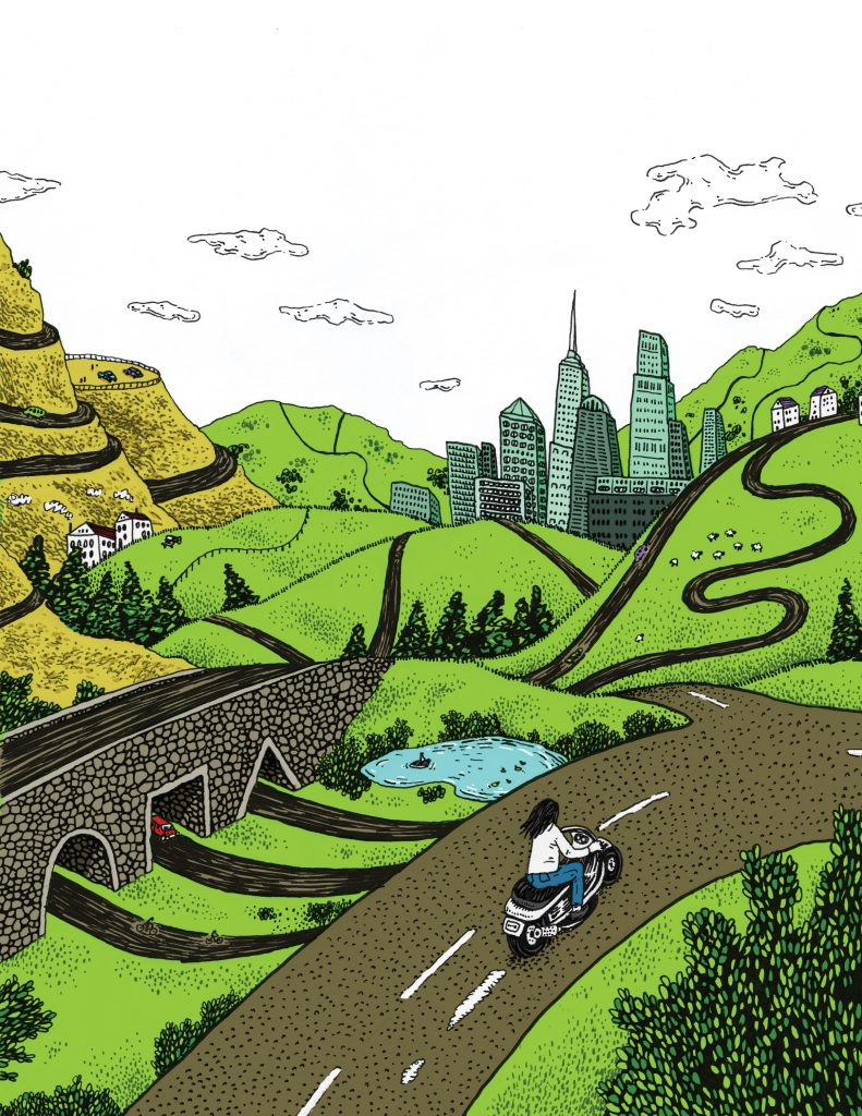 Illustration of a woman riding a motorcycle through a twisting road towards a large city. An approaching underpass has multiple entrances, each one a different shape.