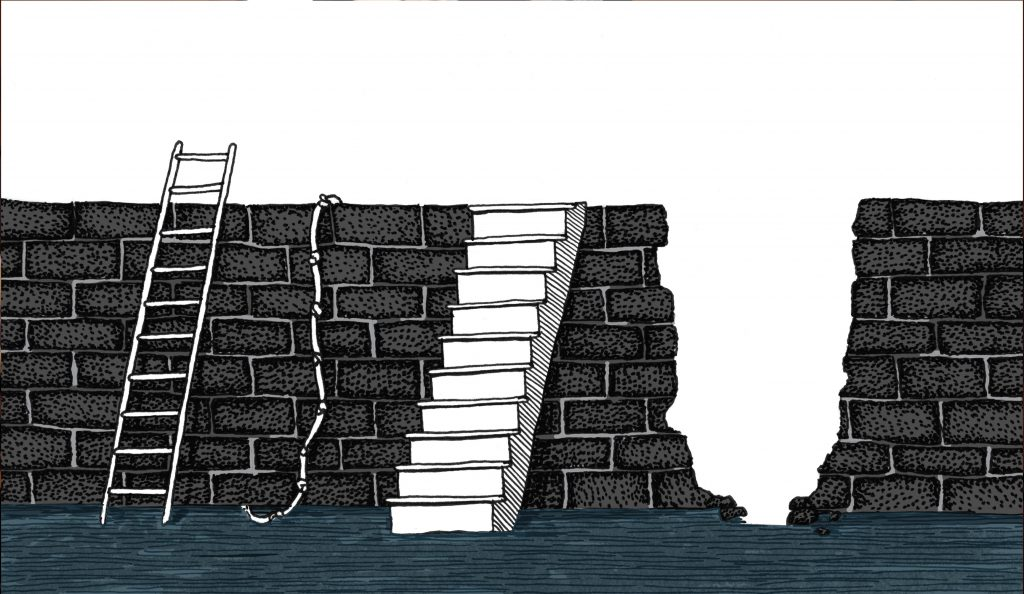 Illustration of a brick wall with multiple options to traverse. We can see a ladder, a rope, stairs, and a broken open section in the wall.