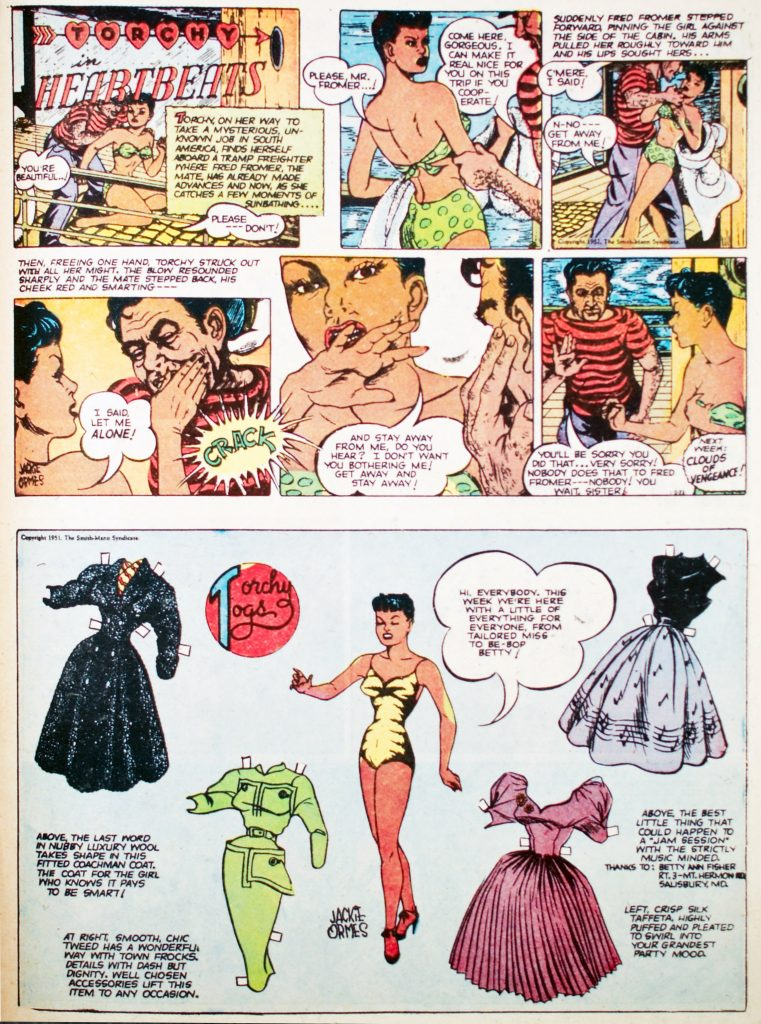 "Comic book panels from Jackie Ormes' ""Heartbeats"" (1950's)."