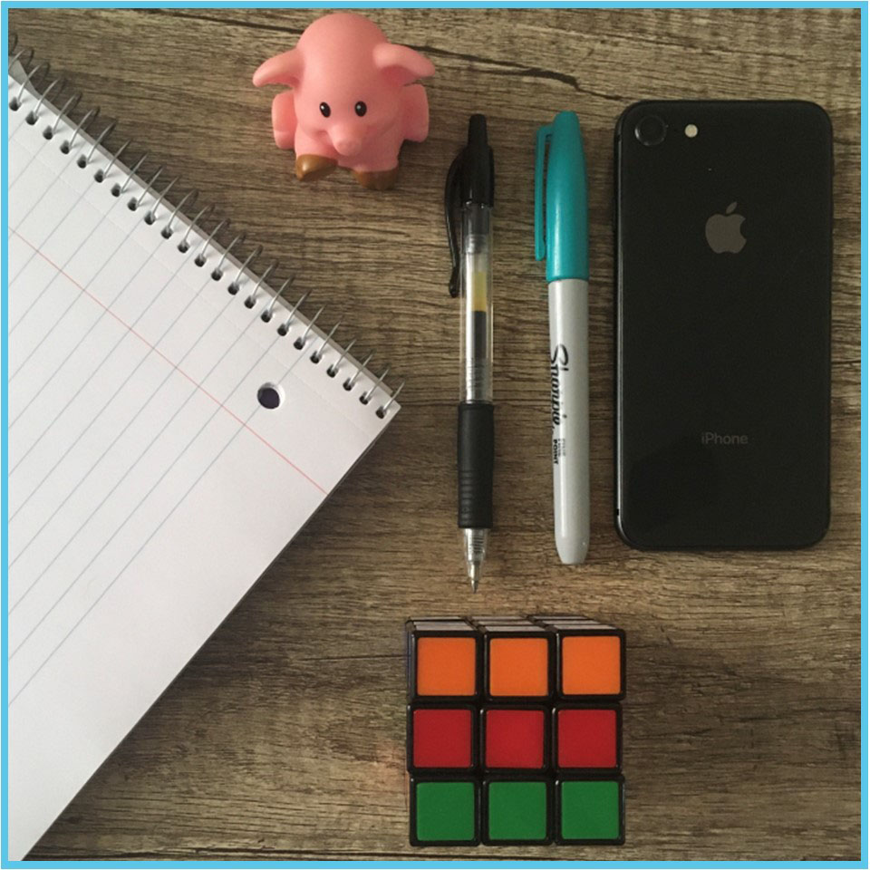 Spiral notebook, small toy pig, pen, sharpie marker, iPhone and Rubik's cube.