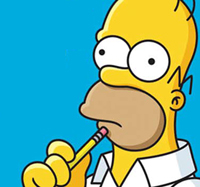 Homer Simpson with a pencil on his chin poised in a thinking position