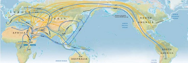 A geographic map of the world with multiple lines representing migration from the African continent