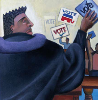 A man in a robe holding a pamphlet titled Vote with other people holding Vote signs in the background