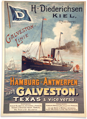 Poster advertising a passenger line from Hamburg to Galveston
