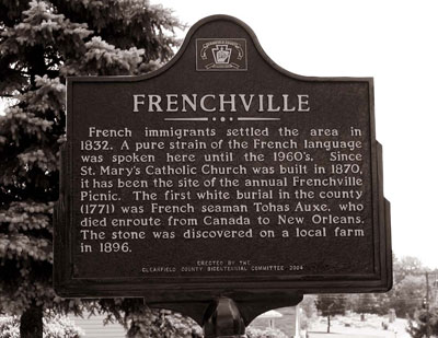A historical marker of Frenchville, an isolated farming community of French speakers in central Pennsylania where Barbara E. Bullock, professor of French and Italian, interviewed the last remaining speakers of a rare French dialect. Photo courtesy of Barbara E. Bullock.