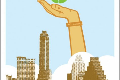 digital drawing of hand holding rose coming out of Austin skyline