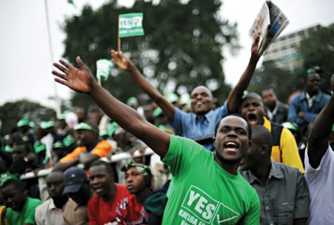 Kenyan voters celebrate passage of a new constitution