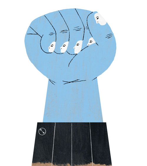 digial drawing of a blue hand holding up a fist