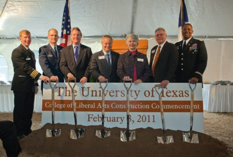 Capt. Daniel Dixon, Naval ROTC; CDR Christopher Bowman, Air Force ROTC; President William Powers; James & Miriam Mulva; Dean Randy L. Diehl; and LTC Boris Robinson, Army ROTC