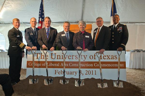 Capt. Daniel Dixon, Naval ROTC; CDR Christopher Bowman, Air Force ROTC; President William Powers; James & Miriam Mulva; Dean Randy L. Diehl; and LTC Boris Robinson, Army ROTC