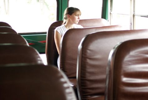 person sitting alone at the back of the bus