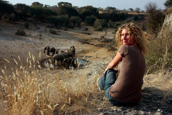 Kelly Crews observes elephants in Botswana.