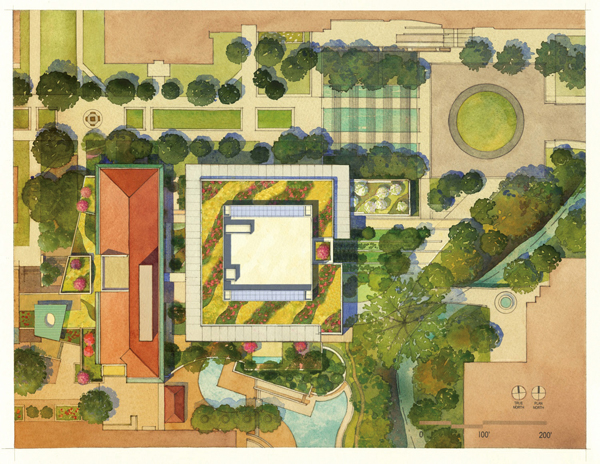 Aerial view of new College of Liberal Arts building, East Mall. Conceptual drawings courtesy of Overland Partners