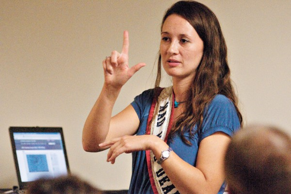 Mazique sheds light on the history of Deaf communication and the communication barriers at the university during an event hosted by Services for Students with Disabilities. Phot oby Kiersten Holms, Courtesy of The Daily Texan.