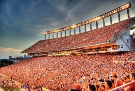 UT football stands filled with white and burnt orange