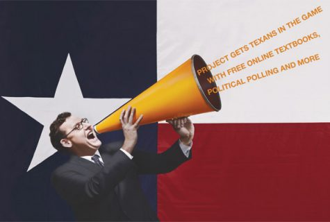 James Henson with megaphone. Texas flag in background.