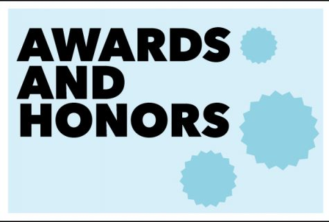 Award and Awards type treatment with blue background.