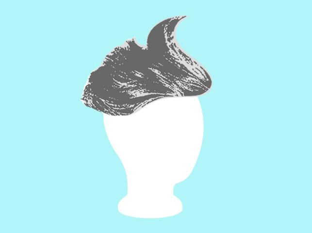 silver wig on blank head on blue background