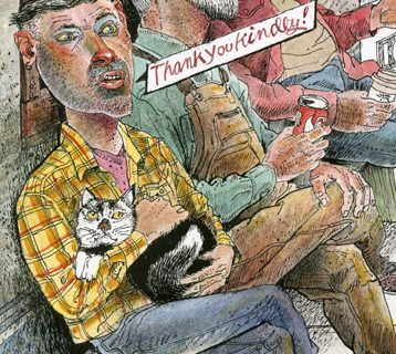 "man in yellow plaid shirt holding a cat saying ""thank you kindly"""