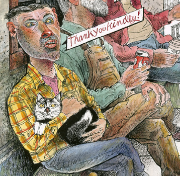 man in yellow plaid shirt holding a cat saying