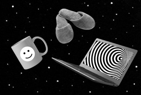 Twilight Zone inspired photo collage of a coffee mug, slippers, and a laptop floating in space. The laptop has a hypnotic swirl image in it and the whole image is in black and white.