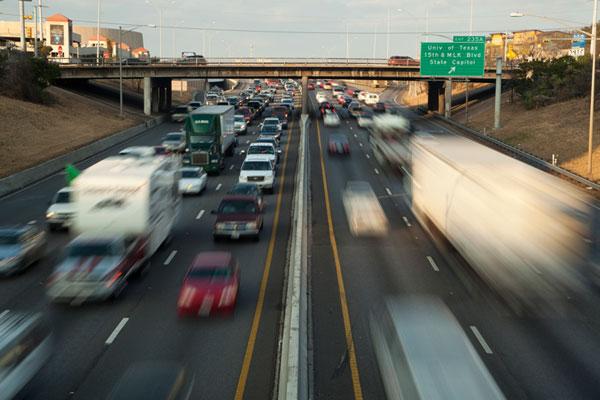 Going nowhere fast: 5 p.m. traffic congestion on I-35 in Austin, Texas. ©Herronstock.com