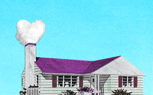 graphic of white home with purple roof
