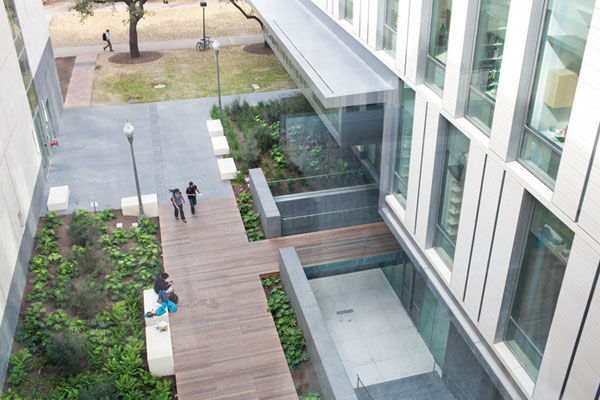 Image of sky bridge connecting the new building to the Student Activity Center makes an ideal study spot.