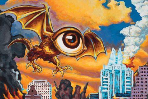 flying monster with eye for head flying over Austin