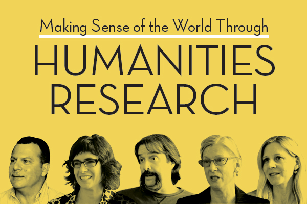 graphic for Humanities Research with researchers along bottom