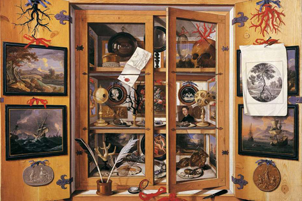 cabinet full of trinkets