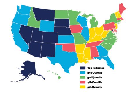 U.S. state rankings for entrepreneurship-prone personality profile.